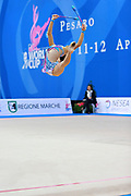 Serdyukova Anastasiya during qualifyingat at clubs in the Pesaro World Cup April 10,2015. Anastasiya is an Azerbaijani individual rhythmic gymnast, she was born on May 29, 1997 in Tashkent, Uzbekistan. Her goal is to compete at the 2020 Olympic Games in Tokyo..