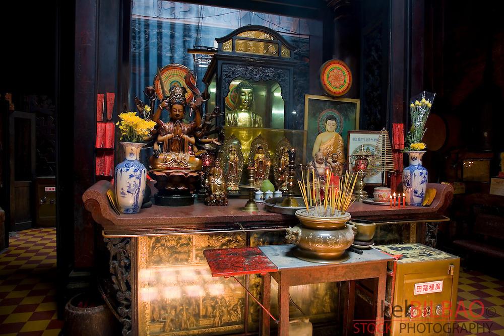 altar in the Taoist Jade Emperor Pagoda (Chua Ngoc Hoang). Saigon or Ho Chi Minh City, Vietnam, Asia.
