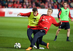 ADELAIDE, AUSTRALIA - Sunday, July 19, 2015: Liverpool's Pedro Chirivella and Lucas Leiva during a training session at Coopers Stadium ahead of a preseason friendly match against Adelaide United on day seven of the club's preseason tour. (Pic by David Rawcliffe/Propaganda)