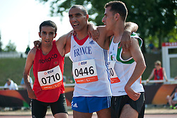 MASTOURI Djamel, DJEMAI Madjid, AHARAK Hafid, FRA, ALG, MAR, 1500m, T38, 2013 IPC Athletics World Championships, Lyon, France