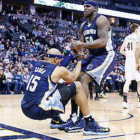 01 February 2016: Memphis Grizzlies forward Zach Randolph (50) helps Memphis Grizzlies guard Vince Carter (15) to stand up during the Memphis Grizzlies 119-99 victory over the Denver Nuggets, at the Pepsi Center, Denver, Colorado, USA.