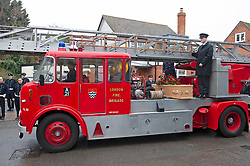 ©Licensed to London News Pictures 30/01/2020<br /> Orpington, UK. The coffin arriving at the church on an old London Fire Brigade rescue ladder vehicle. The Funeral of thirty three year old father-of-four and firefighter Anthony Knott at Saint Giles the Abbot Church, Orpington, Kent.  His body was found in the water at Denton Island, Sussex three weeks after he went missing on a night out in Lewes, East Sussex in December 2019. Photo credit: Grant Falvey/LNP