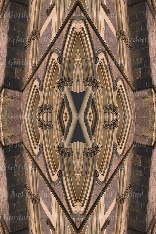 Quadrant vertical mirror image of close up of architectural buttress detail on front of 'Our Lady of Guadalupe ' church on 328 W14th Street NYC creating new abstract patterns and shapes in design.