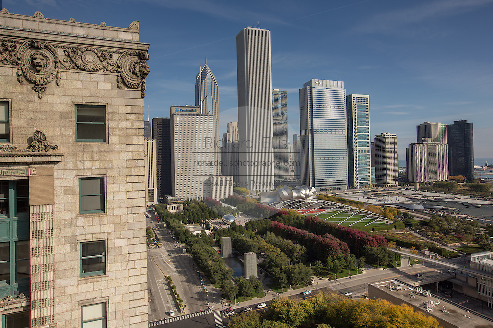 Aerial view of the from the Cliff Dwellers Club of downtown skyline and Millennium Park in Chicago USA