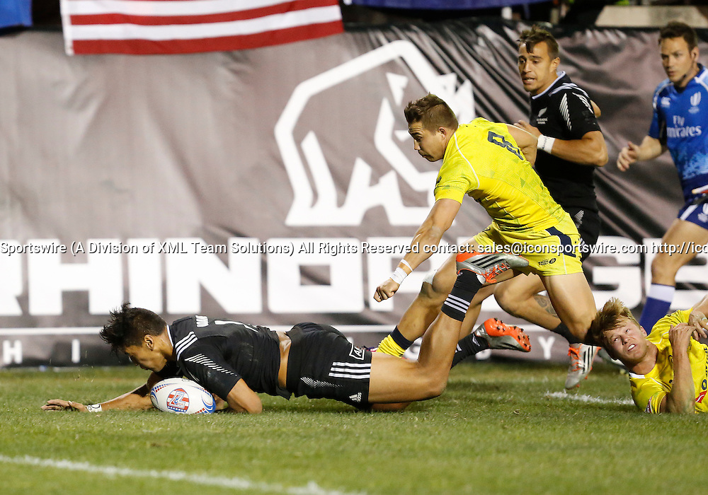 14 February 2015:  Rieko Ioane (11) of New Zealand All Blacks during the quarter finals cup of the USA Sevens Rugby Tournament between Australia and New Zealand at the HSBC Sevens World Series in Las Vegas, Nevada.  New Zealand would defeat Australia 28-7.