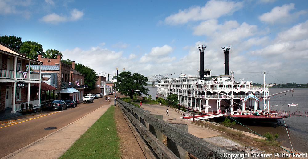 The American Queen docks in the port in historic Natchez, Mississippi. The Memphis based American Queen Steamboat Company hopes to increase the number of trips from Memphis to New Orleans due to high demand for river cruises and a market that is growing. It is said to be the largest steamboat ever built at 418 feet long, it is six stories high. It holds 436 passengers and will visit Memphis 12 times in 2015.