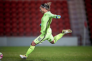 Sarah Bouhaddi (France) takes a goal kick during the International Friendly match between England Women and France Women at the Keepmoat Stadium, Doncaster, England on 21 October 2016. Photo by Mark P Doherty.