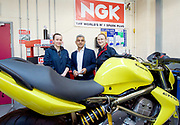 Sadiq Khan, the Mayor of London, officially launches Skills for Londoners – a new initiative that aims to ensure that all Londoners have the opportunity to train in the skills that the capital's economy needs.<br /> <br /> At South Thames College (Merton Campus) London Rd, Morden, Great Britain on 27th April 2017.<br /> <br /> The Mayor joins students at South Thames College (Merton Campus) who are learning how to repair motorcycles before seeking employment or setting up their own business.<br /> <br /> <br /> Lily Vaughan  (student)<br /> Sadiq Khan (Mayor)<br /> Marina Palkovska (student)<br /> <br /> <br /> Photograph by Elliott Franks <br /> Image licensed to Elliott Franks Photography Services