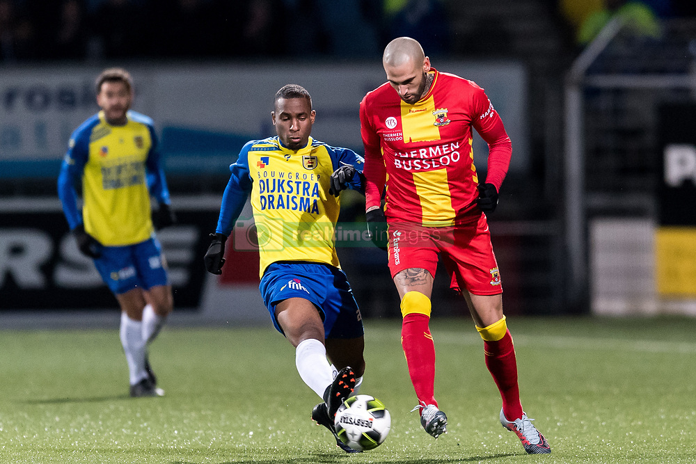 (L-R) Darren Rosheuvel of SC Cambuur, Joey Suk of Go Ahead Eagles during the Jupiler League match between SC Cambuur Leeuwarden and Go Ahead Eagles at the Cambuur Stadium on February 02, 2018 in Leeuwarden, The Netherlands