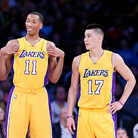 10 February 2015: Los Angeles Lakers forward Wesley Johnson (11) and Los Angeles Lakers guard Jeremy Lin (17) are seen during the Denver Nuggets 106-96 victory over the Los Angeles Lakers, at the Staples Center, Los Angeles, California, USA.