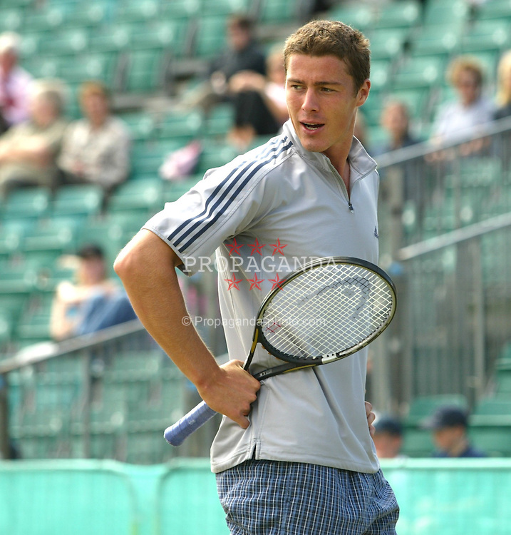 LIVERPOOL, ENGLAND - Sunday, June 22, 2002: Marat Safin (RUS) in action during the Final of the Liverpool International at Calderstones Park, Liverpool. Safin won 7-6, 6-7, 6-4.