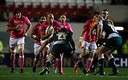 Sergio Parisse of Stade Francais (C) in action - Mandatory byline: Jack Phillips / JMP - 07966386802 - 13/11/15 - RUGBY - Welford Road, Leicester, Leicestershire - Leicester Tigers v Stade Francais - European Rugby Champions Cup Pool 4