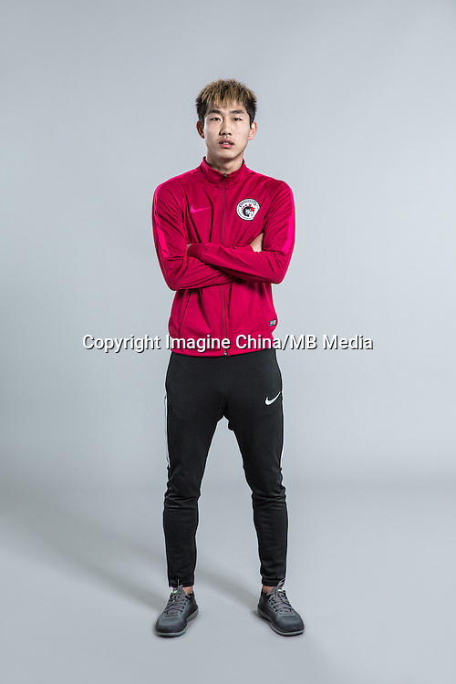 Portrait of Chinese soccer player Hu Yanqiang of Liaoning Whowin F.C. for the 2017 Chinese Football Association Super League, in Foshan city, south China's Guangdong province, 24 January 2017.