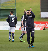 Dundee manager Paul Hartley applauds the travelling support at full time - Partick Thistle v Dundee, Ladbrokes Premiership at Firhill<br /> <br /> <br />  - &copy; David Young - www.davidyoungphoto.co.uk - email: davidyoungphoto@gmail.com