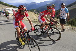 Luis Angel Mate (ESP) and Nicolas Edet (FRA) Cofidis climb Col d'Izoard during Stage 18 of the 104th edition of the Tour de France 2017, running 179.5km from Briancon to the summit of Col d'Izoard, France. 20th July 2017.<br /> Picture: Eoin Clarke | Cyclefile<br /> <br /> All photos usage must carry mandatory copyright credit (© Cyclefile | Eoin Clarke)