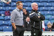Forest Green Rovers manager, Mark Cooper and Forest Green Rovers physio Ian Weston during the EFL Sky Bet League 2 match between Mansfield Town and Forest Green Rovers at the One Call Stadium, Mansfield, England on 12 August 2017. Photo by Shane Healey.