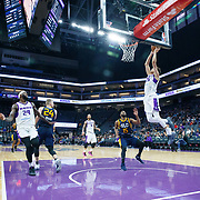 Reno Bighorns Forward JUSTIN JACKSON (25) receives an alley-oop pass for a dunk during the NBA G-League Basketball game between the Reno Bighorns and the Salt Lake City Stars at the Golden 1 Center, Sacramento, California