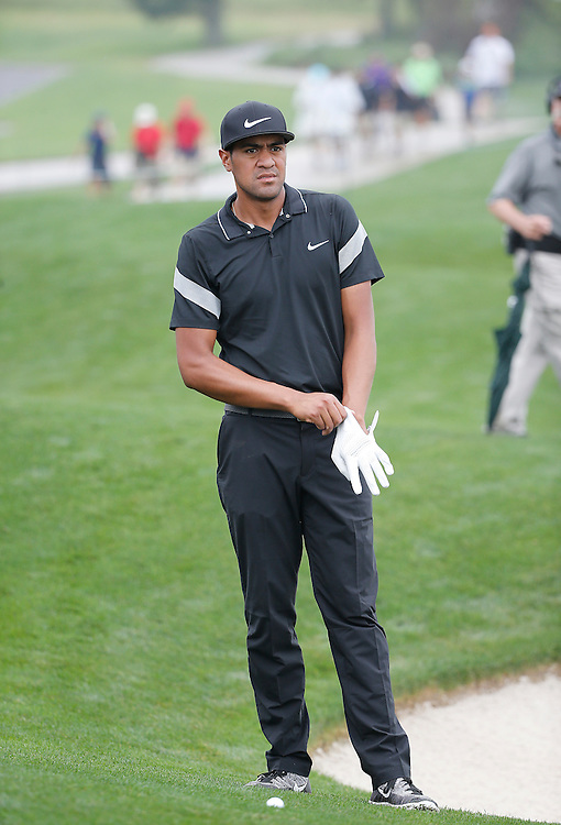 Tony Finau looks at his approach shot on the 18th fairway in the Shell Houston Open-Round 1 at the Golf Club of Houston on Wednesday, March 31, 2016 in Humble, TX. (Photo: Thomas B. Shea/For the Chronicle)
