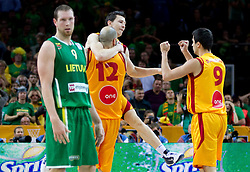 Pero Antic of Macedonia, Vlado Ilievski of Macedonia and Damjan Stojanovski of Macedonia celebrate during basketball game between National basketball teams of F.Y.R. of Macedonia and Lithuania at Quarterfinals of FIBA Europe Eurobasket Lithuania 2011, on September 14, 2011, in Arena Zalgirio, Kaunas, Lithuania. Macedonia defeated Lithuania 67-65. (Photo by Vid Ponikvar / Sportida)