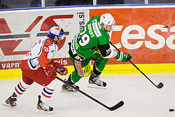 02.11.2012, Hala Tivoli, Ljubljana, SLO, EBEL, HDD Telemach Olimpija Ljubljana vs EC Red Bull Salzburg, 18. Runde, in picture Anze Ropret (HDD Telemach Olimpija, #29) and Dominique Heinrich (EC Red Bull Salzburg, #91) during the Erste Bank Icehockey League 18th Round match between HDD Telemach Olimpija Ljubljana and EC Red Bull Salzburg at the Hala Tivoli, Ljubljana, Slovenia on 2012/11/02. (Photo By Matic Klansek Velej / Sportida)