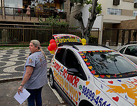 Rio de Janeiro-Brazil, April 11, 2020, Birthday celebration with congratulations, by far due to Covid19, population improvising in these new times