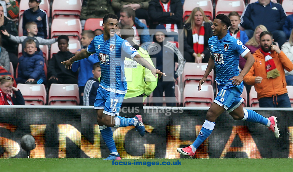 Joshua King (17) of Bournemouth celebrates scoring the opening goal during the Premier League match at the Stadium Of Light, Sunderland<br /> Picture by Simon Moore/Focus Images Ltd 07807 671782<br /> 29/04/2017