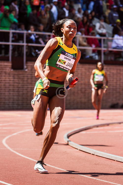 Penn Relays, USA vs the World, womens 4 x 200 meter relay, Sherone Simpson, Jamaica