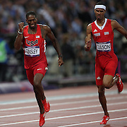 Michael Tinsley, USA, (left) winning the Silver Medal, Javier Culson, Puerto Rico, winning the Bronze Medal at the finish of the Men's 400m Hurdles Final at the Olympic Stadium, Olympic Park, during the London 2012 Olympic games. London, UK. 6th August 2012. Photo Tim Clayton
