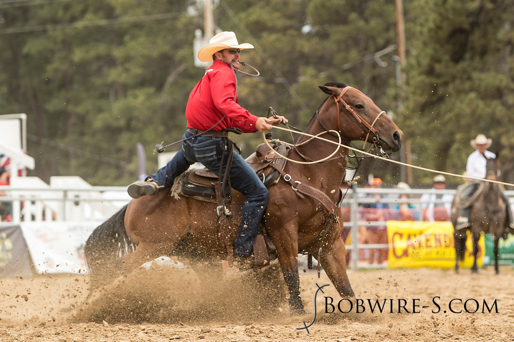 Joey Dickens makes his tie-down roping run during the third performance of the Elizabeth Stampede on Sunday, June 3, 2018.