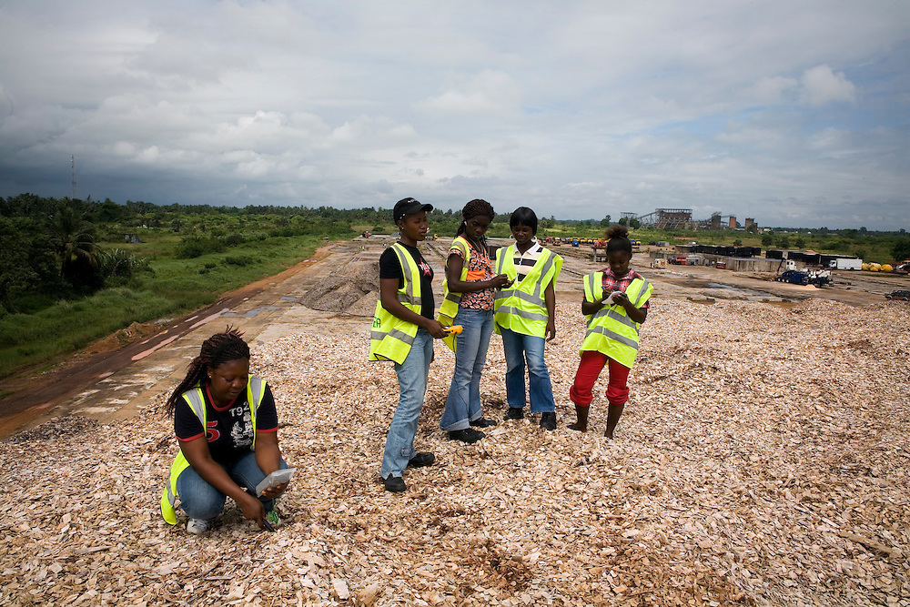 BW staff measure the temperature in the big testing pile of woodchips. Buchanan, Liberia.