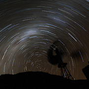 Star trails and Milky Way as seen from Sutherland, South Africa.