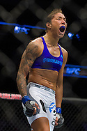 DALLAS, TX - MARCH 14:  Germaine de Randamie celebrates after defeating Larissa Pacheco during UFC 185 at the American Airlines Center on March 14, 2015 in Dallas, Texas. (Photo by Cooper Neill/Zuffa LLC/Zuffa LLC via Getty Images) *** Local Caption *** Germaine de Randamie