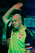 Michael van Gerwen waves to the adoring Ally Pally crowd before his walk-on during the World Darts Championships 2018 at Alexandra Palace, London, United Kingdom on 29 December 2018.
