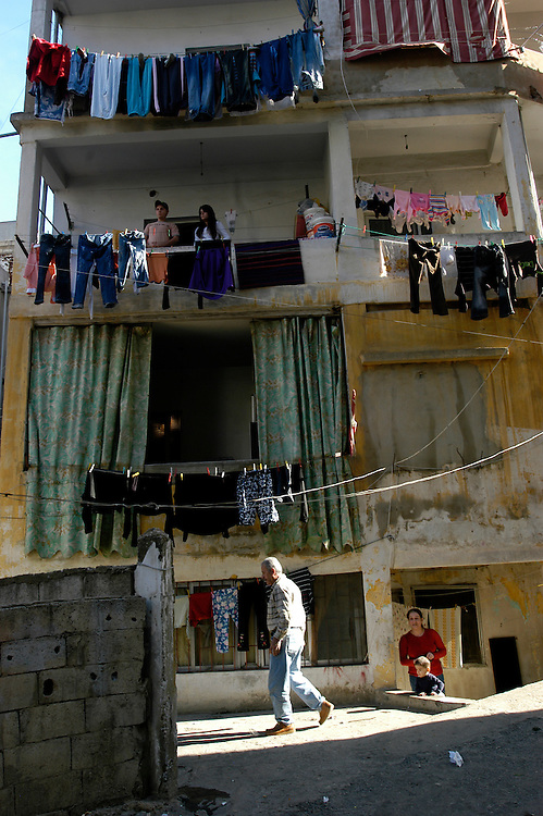 The neighbor hood of Sed El Bauchrieh in East Beirut where a large number of Iraqi refugees, primarily Christian, live in rented apartments. Lebanon is host to an estimated 50,000 Iraqi refugees. Relative to their percent of the overall population, a large proportion of Iraqi refugees in Lebanon are Christian. Many refugees come to Lebanon because they feel they have better opportunities for work and resettlement than in neighboring Syria or Jordan, however they run a greater risk of arrest, detention and deportation..Beirut, Lebanon. 04/12/2008.Photo © J.B. Russell
