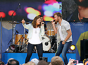 Hillary Scott and Charles Kelley of Lady Antebellum perform during the Good Morning America Concert Series at Rumsey Playfield in New York City, New York on May 23, 2014.