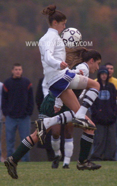 Times Herald-Record/TOM BUSHEY.Washingtonville's Brittany Taylor, left, tries to control the ball as Minisink Valley's Rachel Beauchesne defends during the Section 9 Class A championship game in Warwick..Nov. 1, 2002...