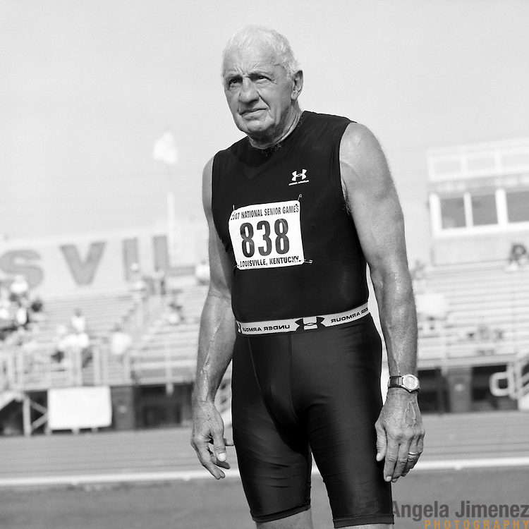 Senior athlete Chuck Lanza, 71, of Memphis Tennessee, is photographed participating in the track and field competition at the 2007 Senior Olympics, held at the University of Louisville's Cardinal Park Soccer & Track Stadium in Louisville, Kentucky on June 28, 2007. ..Lanza started doing field events in 1995, and added running about four years ago. ..The event was sponsored by the National Senior Games Association, established in 1986, which oversees 50 state and 350 local and regional competitions for senior athletes in the United States each year. There are an estimated 250,000 senior athletes in training in the U.S. ...