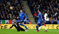 Kasper Schmeichel of Leicester City saves a shot from Moussa Sissoko of Tottenham Hotspur - Mandatory by-line: Robbie Stephenson/JMP - 28/11/2017 - FOOTBALL - King Power Stadium - Leicester, England - Leicester City v Tottenham Hotspur - Premier League