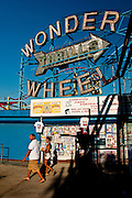 Wonder wheel sign in the Coney island amusement park, Brooklyn, New York, 2010