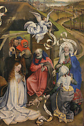 Detail of the Nativity and Adoration of the Shepherds, oil painting on wood, 1420, by the Master of Flemalle, Robert Campin, 1375-1444, in the Musee des Beaux-Arts de Dijon, opened 1787 in the Palace of the Dukes of Burgundy in Dijon, Burgundy, France. This painting depicts the birth of Christ and the Adoration of the Shepherds, with 2 midwives on the right and a choir of angels overhead. Picture by Manuel Cohen