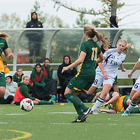 1st year forward Meghan McFee (27) of the Regina Cougars during the Women's Soccer home game on September 11 at U of R Field. Credit: Arthur Ward/Arthur Images