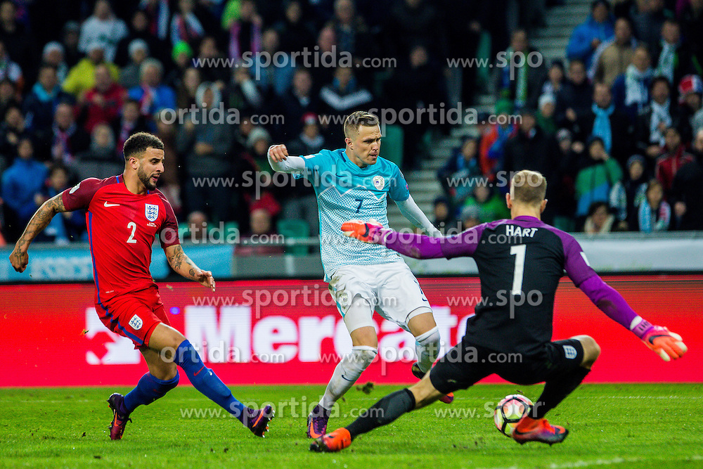 Josip Ilicic of Slovenia and Kyle Walker of England and Joe Hart of England  during football match between National teams of Slovenia and England in Round #3 of FIFA World Cup Russia 2018 qualifications in Group F, on October 11, 2016 in SRC Stozice, Ljubljana, Slovenia. Photo by Grega Valancic / Sportida