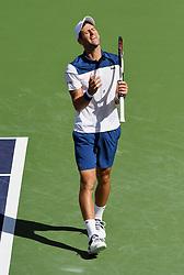 March 11, 2018 - Indian Wells, CA, U.S. - INDIAN WELLS, CA - MARCH 11: Novak Djokovic (SRB) reacts after losing a point in the third set of a match played at the BNP Paribas Open on March 11, 2018 at the Indian Wells Tennis Garden in Indian Wells, CA. (Photo by John Cordes/Icon Sportswire) (Credit Image: © John Cordes/Icon SMI via ZUMA Press)