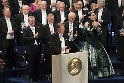 Nobelpreisverleihung 2016 in der Konzerthalle in Stockholm / 101216 ***Horace Engdahl, Carl-Henrik Heldin, Gˆran Hansson, Lars Heikensten, Sara Danius <br />  ***The annual Nobel Prize Award Ceremony at The Concert Hall in Stockholm, December 10th, 2016***