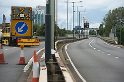 © London News Pictures. 07/07/2012. The M4 motorway in London closed at junction 1 on July 7, 2012. The M4 has been closed between junctions 1 and 3 until Thursday at the earliest after a crack was found in a 'sensitive area' of an elevated section of the motorway. The M4, part of the Olympic Route Network, will be vital for transporting visitors into the city from Heathrow Airport. Photo credit: Ben Cawthra/LNP.