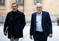 © Licensed to London News Pictures. Labour Party Leader JEREMY CORBYN (R) and Labour Party Executive Director of Strategy and Communications SEAMUS MILNE (L) arrive at BBC Broadcasting House to appear on the Andrew Marr Show. 15/04/2018. London, UK. Photo credit: Rob Pinney/LNP