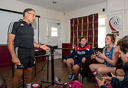 Performance coach Dr Dave Alred listens to a question from Amelia Buckland-Hurry of Bristol Ladies - Mandatory by-line: Paul Knight/JMP - 29/07/2017 - RUGBY - Bristol Ladies Rugby pre-season training