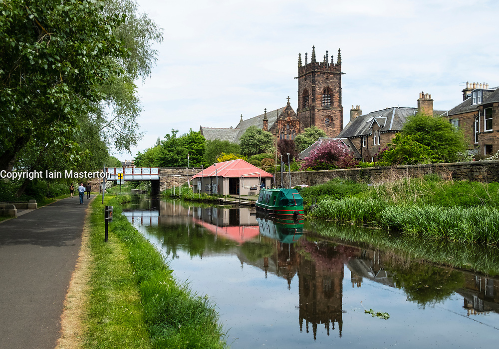 View of the Union Canal  at Polwarth in Edinburgh, Scotland, United Kingdom