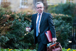 © Licensed to London News Pictures. 19/12/2017. London, UK. Secretary of State for Environment, Food and Rural Affairs Michael Gove arrives on Downing Street for the weekly Cabinet meeting. Photo credit: Rob Pinney/LNP