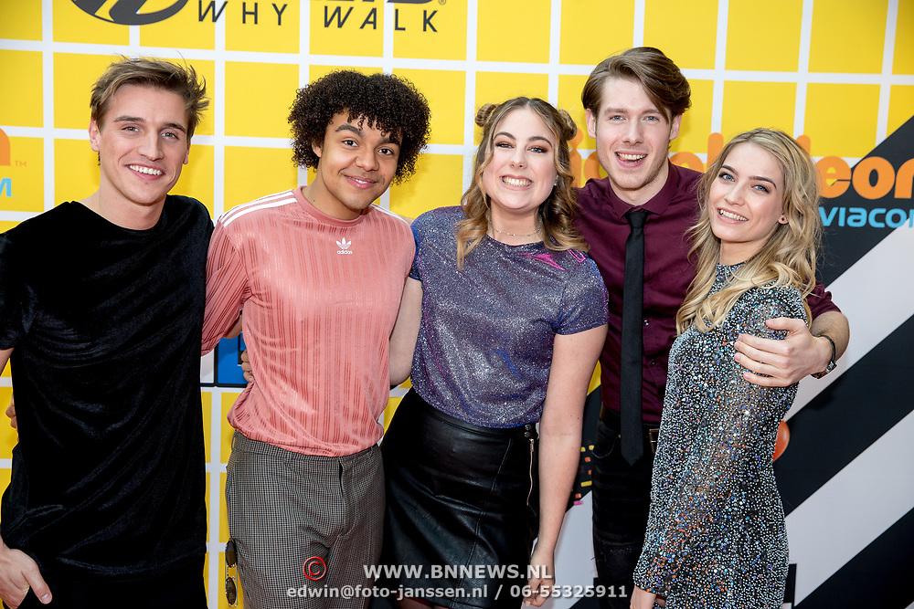 NLD/Amsterdam/20180325 - Nickelodeon Kid's Choice Awards 2018, Spelers van de serie Ghostrockers, Huan Gerlo, Wout Verstappen, Elindo Avastia, Tinne Oltmans en Marie Verhulst